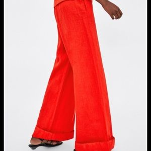 NWT Zara Woman 💯% Linen Wide Leg Trouser